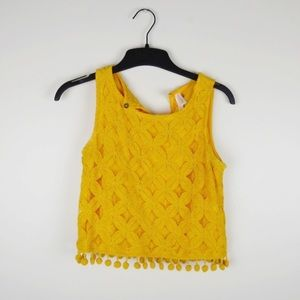 Mustard yellow crochet crop top with pom poms